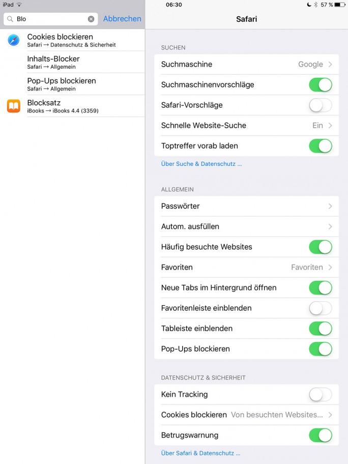 iOS 9 Beta 2: Content-Blocker steht nicht mehr zur Verfügung (Screenshot: ZDNet.de)