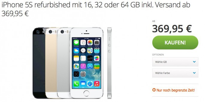 Groupon: iPhone 5S ab 370 Euro erhältlich (Screenshot: ZDNet.de)