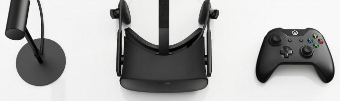 Die Oculus Rift kommt mit Tischkamera (links) und Microsoft-Controller (Bild: Oculus).