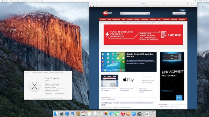 OS X 10.11 El Capitan (Screenshot: ZDNet.de)