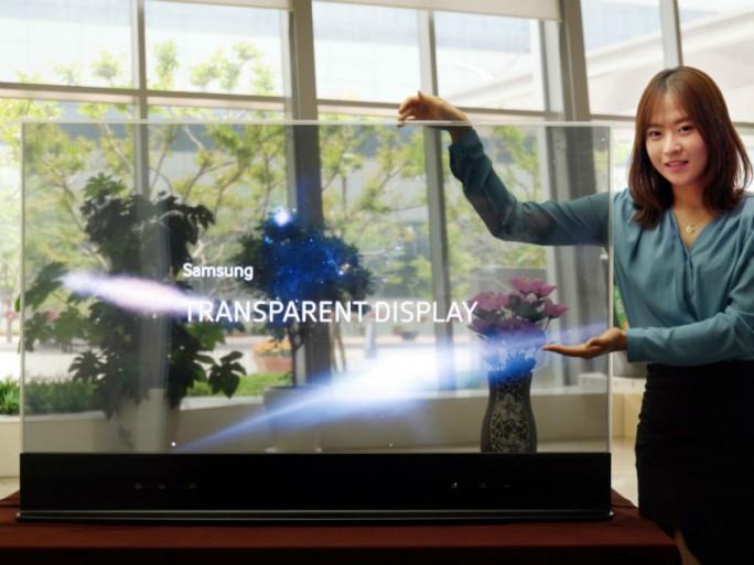 Samsungs transparentes OLED-Display bietet eine Durchlässigkeit von 45 Prozent (Bild: Samsung).