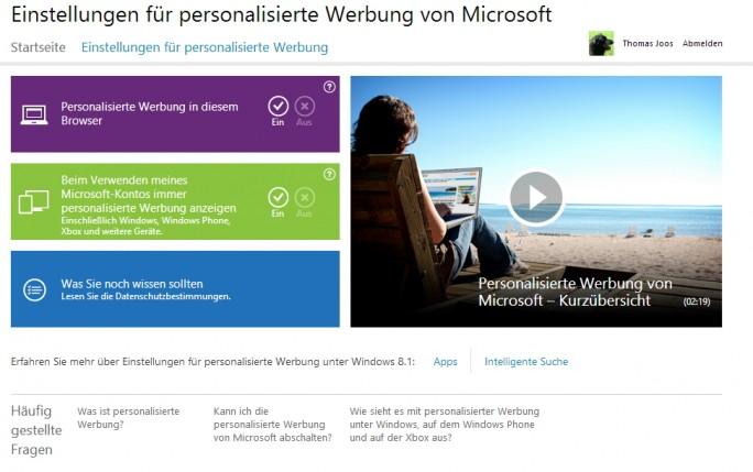 Im Internet können Sie personalisierte Werbung für Windows 10 steuern und die Funktion aktivieren oder deaktivieren (Screenshot: Thomas Joos).