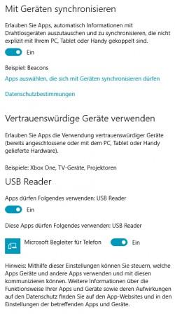 In Windows 10 können Anwender auch steuern welche Apps das Recht erhalten auf vertrauenswürdige Geräte zuzugreifen (Screenshot: Thomas Joos).