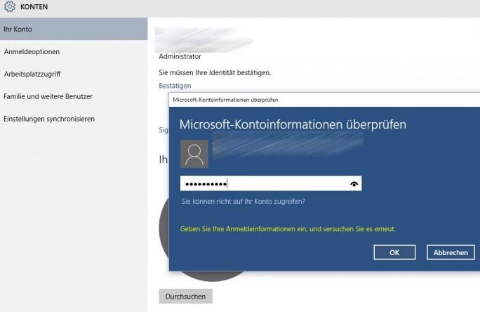 Für einige Einstellungen ist es notwendig, die Anmeldung am Microsoft-Konto erneut zu bestätigen (Screenshot: Thomas Joos).