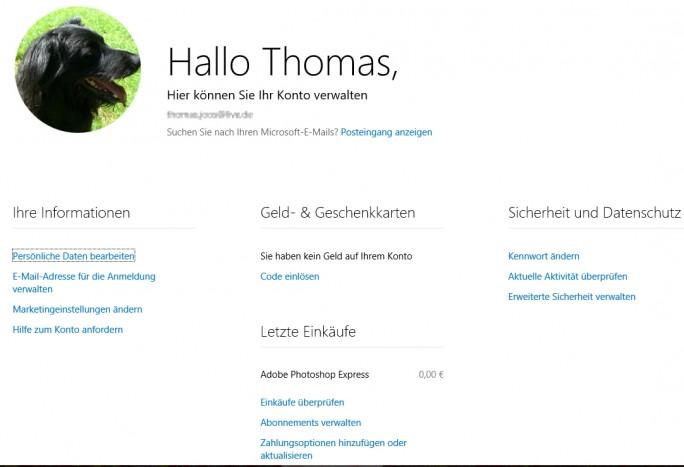 In den Online-Einstellungen des Microsoft-Kontos nehmen Anwender Einstellungen vor, die auch Windows 10 betreffen (Screenshot: Thomas Joos).