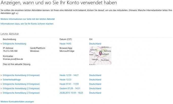 In den Kontoeinstellungen des Microsoft-Kontos lassen sich umfangreiche Informationen auslesen (Screenshot: Thomas Joos).