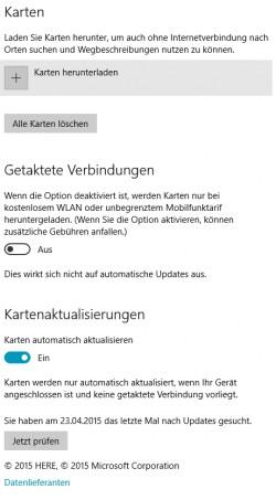 Die Offlinekarten für die Navigation mit Windows 10 können Anwender in den Einstellungen löschen (Screenshot: Thomas Joos).