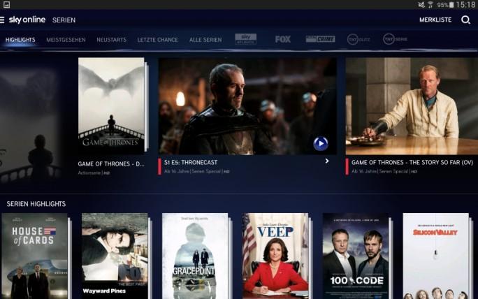 Sky Online bietet beispielsweise Zugang zu Serien auf Android-Tablets (Bild: Sky).