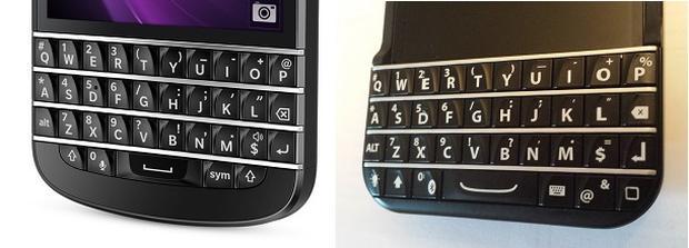 Tastaturenvergleich: Blackberry (links) und Typo (Bild: ZDNet.com)