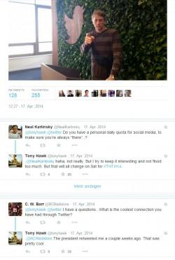 Antwortengruppen zu Tweet von Skater Tony Hawk (Screenshot: ZDNet.de)