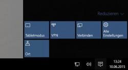 Windows 10 bietet die Möglichkeit zwischen Desktop- und Tablet-Modus wechseln zu können (Screenshot: Thomas Joos).