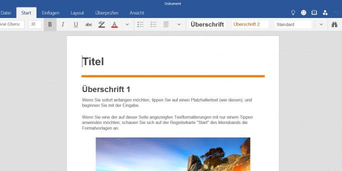 Microsoft stellt eigene Universal Apps zur Verfügung, zum Beispiel die Office-Programme für Windows 10 (Screenshot: Thomas Joos).