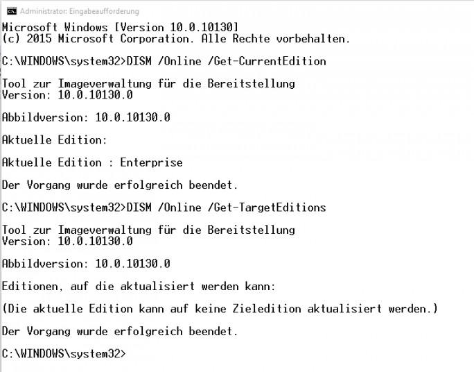 In der Befehlszeile lassen sich installierte Edition und mögliche Aktualisierungs-Editionen anzeigen