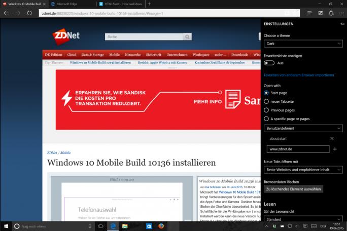Windows 10: Edge mit Dark Mode (Screenshot: ZDNet.de)