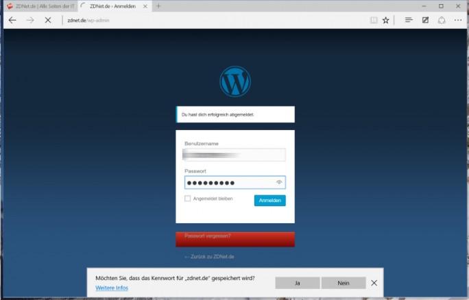 Windows 10: Edge mit Passwort-Manager (ZDNet.de)