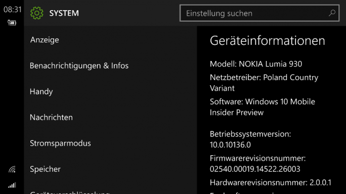 Windows 10 Mobile Build 10136 (Screenshot: ZDNet.de)