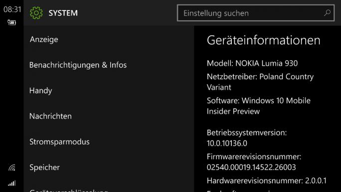 Windows 10 Mobile Build 10136 (Screenshot: ZDNet.de)