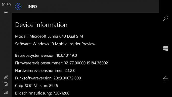 Windows 10 Mobile Build 10149 (Screenshot: ZDNet)