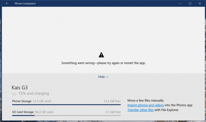 Windows 10: Phone-Companion-App (Screenshot: ZDNet.de)
