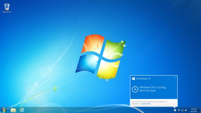 Wer kostenlos auf Windows 10 aktualisieren möchte, sollte nach dem Windows-Symbol in der Taskleiste Ausschau halten, um das Upgrade zu reservieren (Bild: Microsoft).