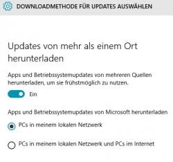 Windows 10 kann Updates auch von anderen Windows 10-Rechnern herunterladen (Screenshot: Thomas Joos).