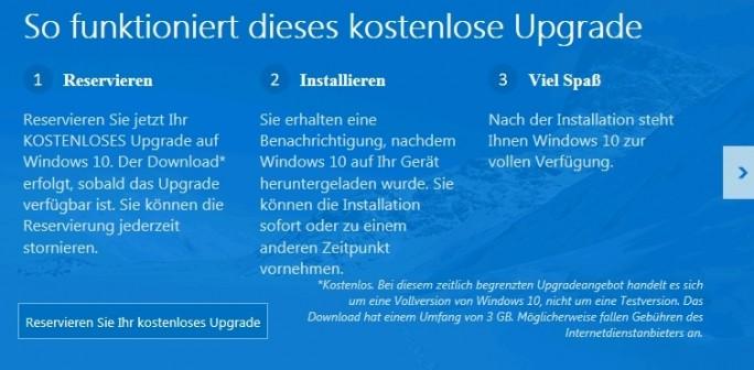 In Windows 7/8/8.1 erscheint eine Meldung über die Anwender sich ihr kostenloses Windows 10-Exemplar reservieren können (Screenshot: Thomas Joos).