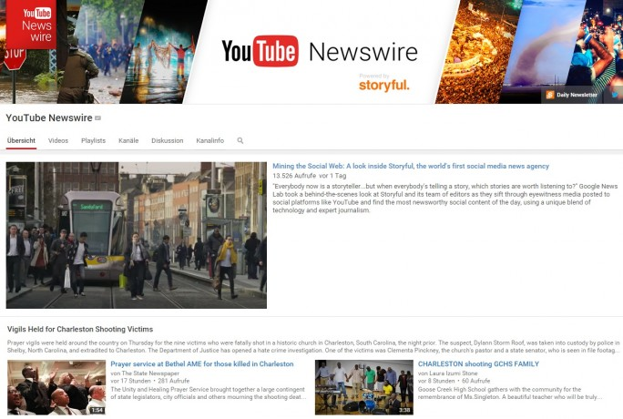 Youtube Newswire (Screenshot: ZDNet.de)