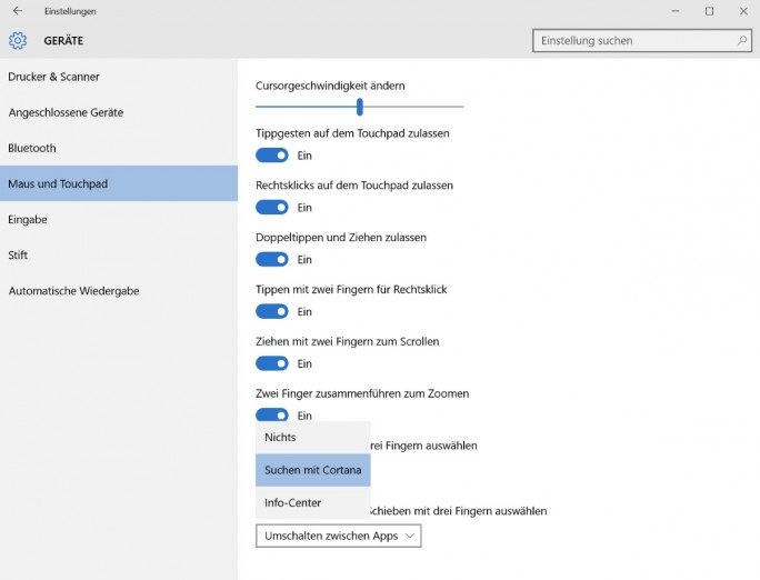 Einstellungen - Geräte - Maus und Touchpad (Screenshot: ZDNet.de)