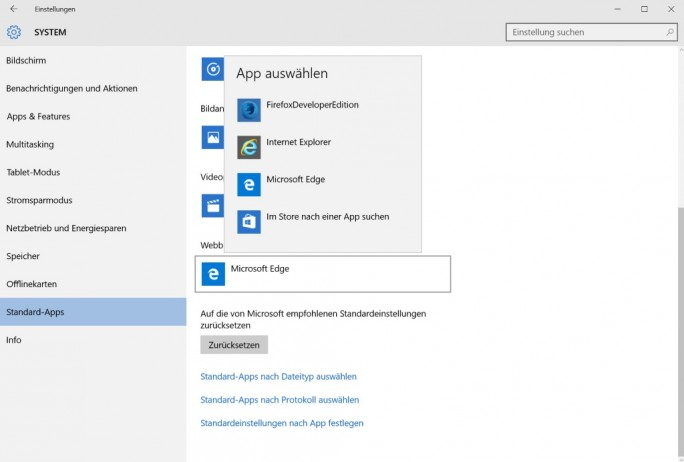Stnadard-Browser unter Windows 10 (Screenshot: ZDNet.de)