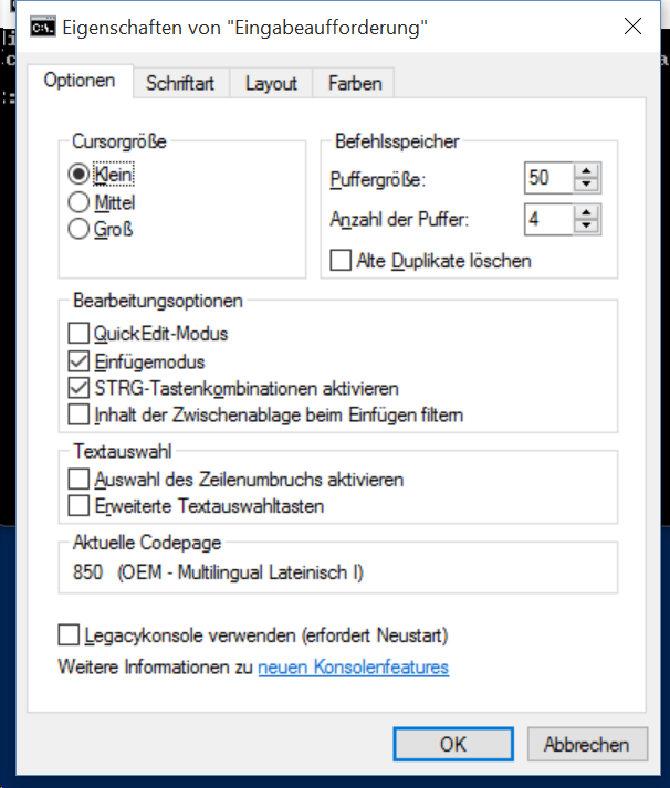 """Windows 10: Eingabeaufforderung """"Legacykonsole verwenden"""" deaktivieren (Screenshot: ZDNet.de)"""