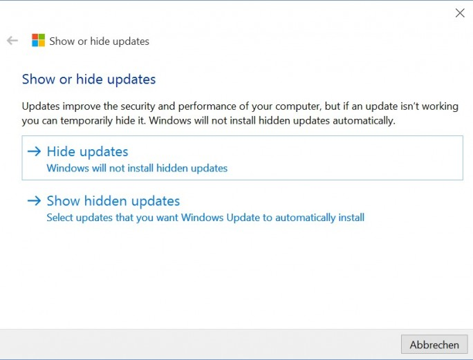 Windows 10: MS-Tool blockiert Updates (Screenshot: ZDNet.de)