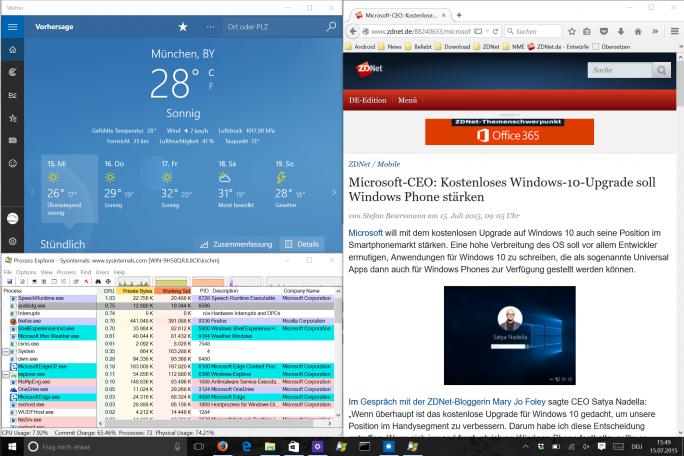 Windows 10: Snap-Funktion unterstützt übersichliche Anordnung von Anwendungen auf dem Bildschirm (Screenshot: ZDNet.de)