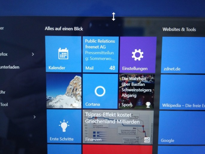 Windows 10: Startmenü vergrößern (Screenshot: ZDNet.de)