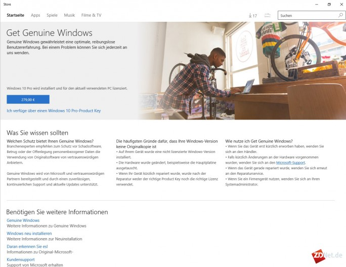 Microsoft-Store: Windows 10 Pro kostet 279 Euro (Screenshot: ZDNet.de)