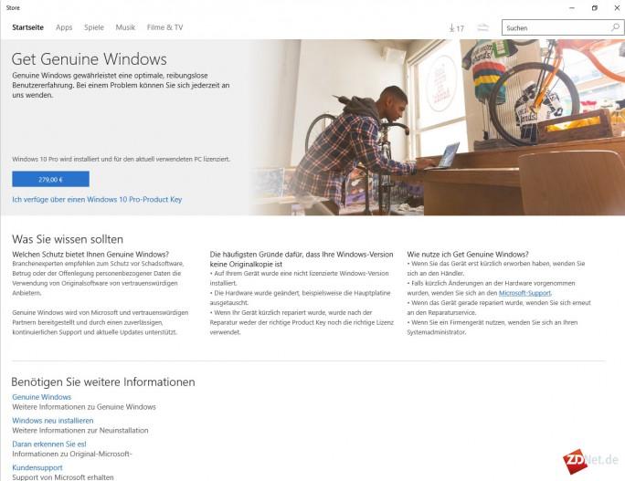 Microsoft-Store: Windows 10 Pro kostet 279 Euro (Screenshot: ZDNet.de)