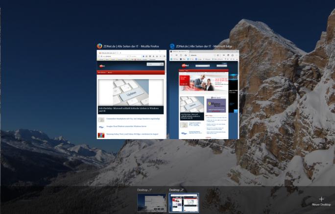 Windows 10: Win + Tab aktivier Taskansicht inklusive Schaltflächen zur Erstellung von virtuellen Desktops (Screenshot: ZDNet.de)