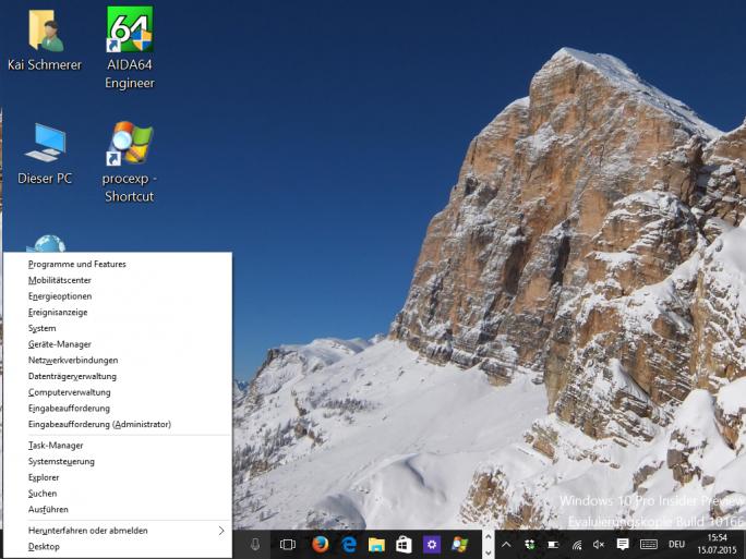 Windows 10: Win + X öffnet ein Kontextmenü mit wichtigen Systemverwaltungsprogrammen (Screenshot: ZDNet.de)
