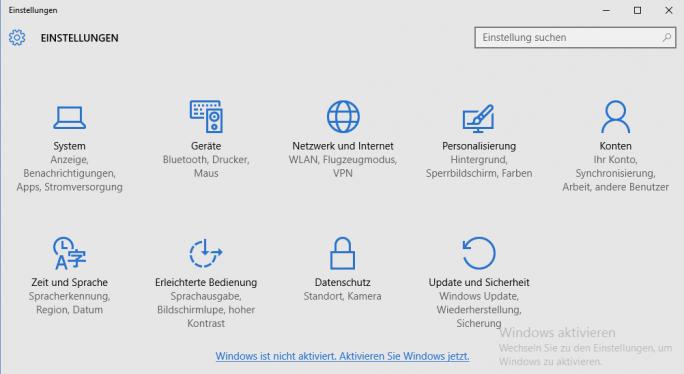 Windows 10: In den Einstellungen und auf dem Desktop wird angezeigt, dass Windows 10 nicht aktiviert ist (Bild: ZDNet.de)