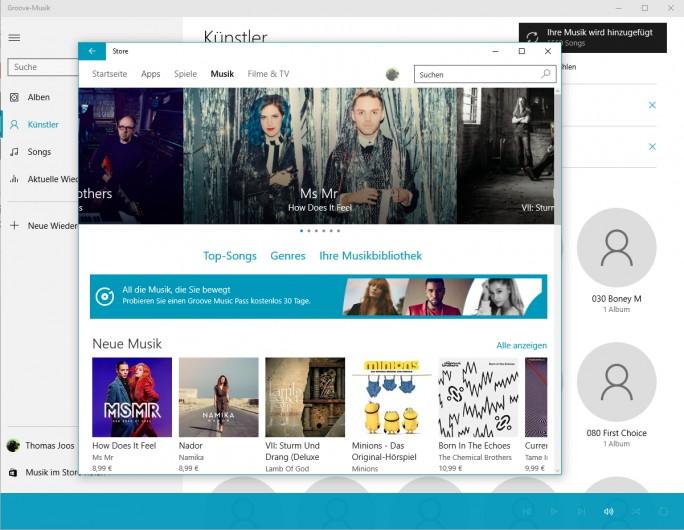 Groove Music ist das Musik-Abspielprogramm in Windows 10 (Screenshot: Thomas Joos).