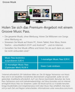 Groove Music Pass kann Musik auf Geräte mit Windows 10 streamen (Screenshot: Thomas Joos).