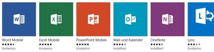 Word, Excel und PowerPoint Mobile lassen sich kostenlos aus dem Windows App-Store herunterladen (Screenshot: Thomas Joos).