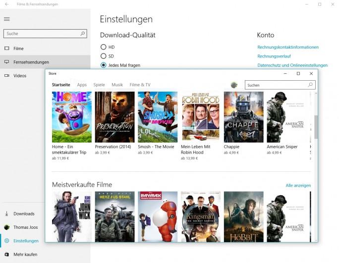 """Mit der neuen App """"Filme & Fernsehsendungen können Anwender Videos mit Windows 10 ohne Zusatzanwendungen abspielen (Screenshot: Thomas Joos)."""