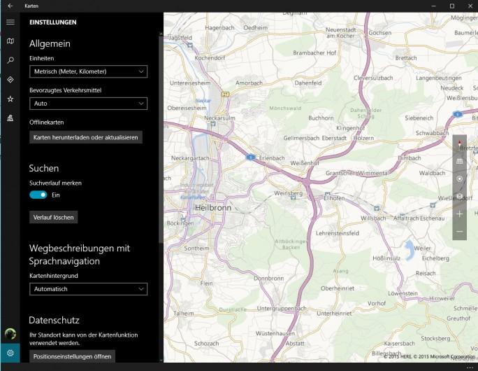 Die Karten-App ermöglicht die Navigation mit Windows 10-Notebooks, Tablets oder Smartphones (Screenshot: Thomas Joos).