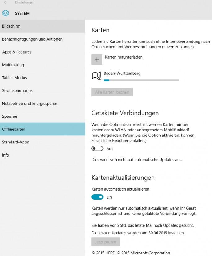 In den Einstellungen für Offlinekarten können Anwender die Aktualisierung konfigurieren und das Herunterladen überwachen (Screenshot: Thomas Joos).