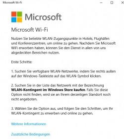 Windows 10 kommt mit einer neuen App, welche die Anbindung an unterstützte Hotspots bietet (Screenshot: Thomas Joos).