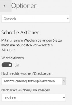 In den Optionen der neuen Windows 10 Mail-App lassen sich auch Wischaktionen festlegen (Screenshot: Thomas Joos).