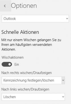 In den Optionen der neuen Windows 10 Mail-App lassen sich auch Wischaktionen festlegen (Screenshot: Thomas Joos).