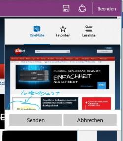 Websitenotizen lassen sich in OneNote speichern und auf andere Geräte replizieren oder offline weiter verwenden (Screenshot: Thomas Joos).