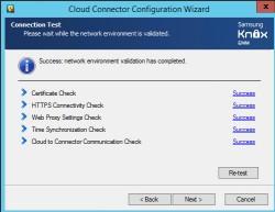 Die erfolgreiche Verbindung von Active Directory und Samsung Knox wird im Installationsassistenten der Samsung Knox Cloud Management Suite überprüft (Screenshot: Thomas Joos).