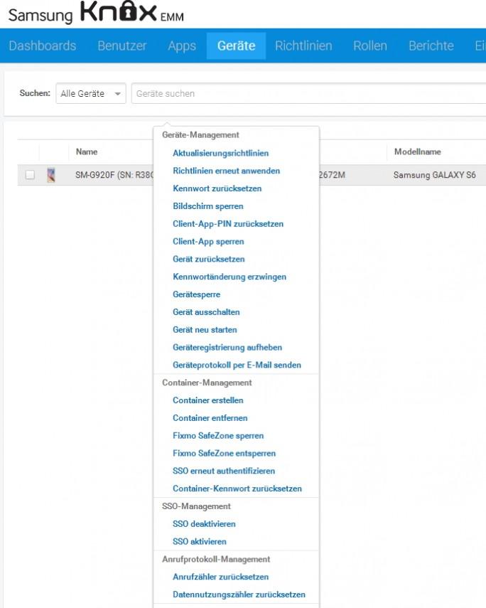 Administratoren verwalten zentral im Knox-Adminportal alle angebundenen Smartphones (Screenshot: Thomas Joos).